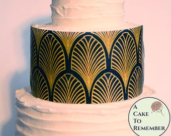 """3 art deco printed wafer paper sheets for cake decorating. 8"""" x 10"""" edible paper to wrap tiered wedding cakes in a black and gold pattern"""