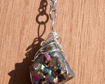 Sparkling Titanium Druzy Wire Wrap Necklace