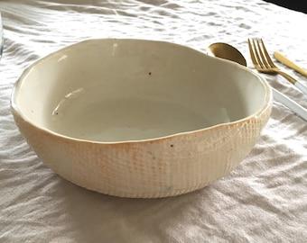Ceramic Cereal Bowl , Soup Bowl - Orange White