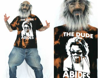 Big Lewboswki Tie Dye T Shirt.Black Hand Bleached Big Lewbowski The Dude Shirt.The Dude Abides 2XL Big Lewbowski Black Bleached Baggy Shirt