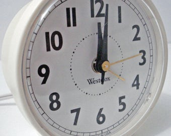 Westclox Alarm Clock White Electric Round Made In USA Vintage