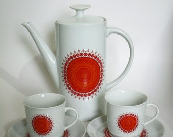 Winterling Schwarzenbach Coffee Pot Set including 2 Cups & Saucers, Bavaria, Germany
