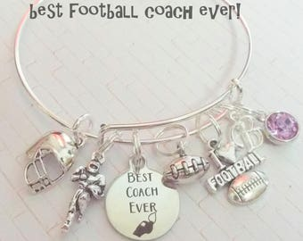 Football Coach Gift, Gift for Coach, Thank You Coach Charm Bracelet, Football Lover Bracelet, Sports Lover Jewelry, Custom Bracelet