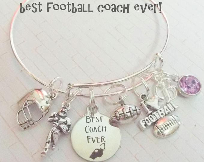 Football Coach Gift, Gift for Coach, Thank You Coach Charm Bracelet, Football Lover Bracelet, Sports Lover Jewelry, Custom Bracelet