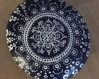 Blue and White Handpainted Rock