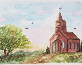Church greeting card/Watercolor Greeting Card/Country church/5 x 7 greeting card/Country landscape/Card and envelope/Country scene card