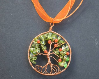 Copper and Glass Tree of Knowledge Pendant