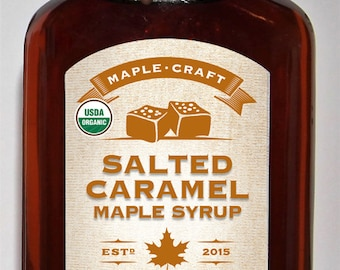 Organic Salted Caramel Maple Syrup (with resealable, hand-dipped wax sealed top)