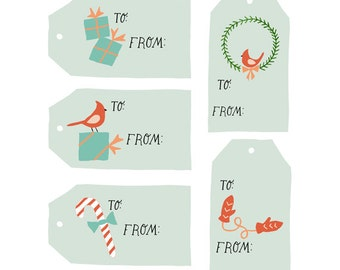 Printable Holiday Gift Tags Instant Download