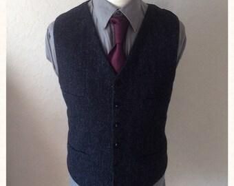 Black Tweed Waistcoat Herringbone Wool Vest Wedding Party Groomsmen Custom made Vest Best Man
