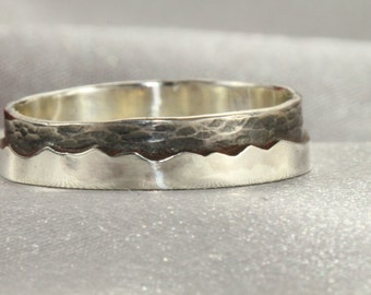 Sterling Silver Mountain Texture Ring,Mountain Texture Ring, handmade silver ring, Man or woman's ring, oxidized silver ring, nature jewelry