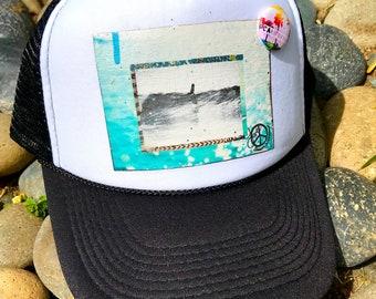 Trucker Hat, SHE SLIDES limited ed. w/pin back, Aloha,Beach, Surf, Ocean, Sea, CA, Hawaii, One Size Fits All, foam trucker hat, Best Seller