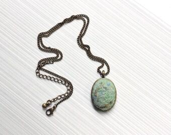 Needle Felt Faux Turquoise Necklace - Needle Felted Necklace - Blue Needle Felt