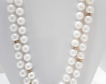 Vintage Double Strands Faux Pearls & Rhinestone Rondells Necklace (5000) (BP)