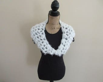 White Crocheted Lace Shawlette