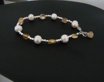 Bracelet Citrine and Freshwater pearls