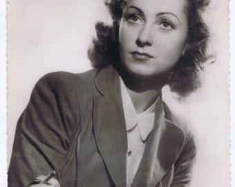 Vintage Retro French Cinema BW Photograph Danielle Darrieux Movie Film Star Actress Chocolate Advertisement
