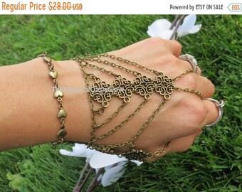 Hand chain bracelet glove slave bracelet ring bracelet, hand chain, body chain jewelry, body jewelry, chain, The Mystical Oasis Glow