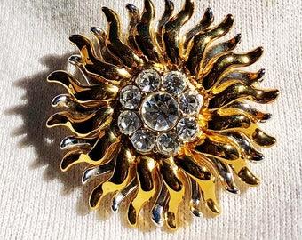 Monet Sunburst or Sunflower Brooch Pin Signed Gold Tone Vintage - Monet Sunburst Brooch Rhinestone Center Signed Vintage