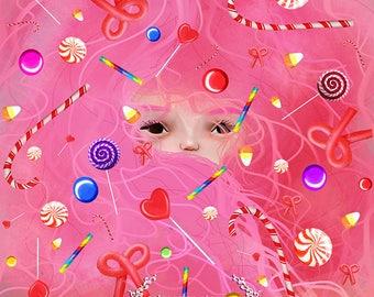 Fine Giclee Art Print - 'Hair' - Little Girls Room Art Print - 8x10, 8.5x11 , 11x17 - Jessica von Braun illustration - Candy Haired Girl