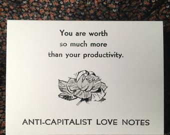 notecards: set of four anti-capitalist productivity love notes