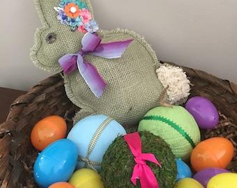Spring Bunny Pillow-Garden Bunny-Primitive Burlap Bunny Pillow-Spring Bunny Decor-Green Bunny Pillow-Burlap Pillow-Handmade Burlap Pillow