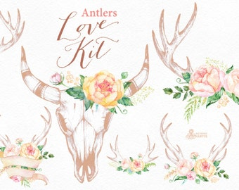 Love Kit with Antlers. Blush. Watercolor flowers Clipart, arrows, peach, antlers, bouquets, valentines, wedding, floral, card, diy, bridal