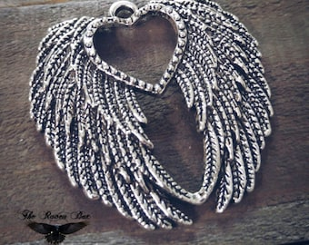 "Large Angel Wings Pendant Heart Angel Wing Pendant Ornate Wing Pendant 45mm 1.77"" Charms By the Piece"