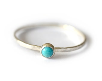 Turquoise Stacking Ring, December Birthstone Ring, Mothers Ring
