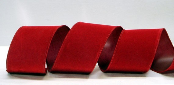 Wired Ribbon 25 Inch Crushed Red Velvet Valentines Day For Wreaths Bows Or Home Decor 3 Yards