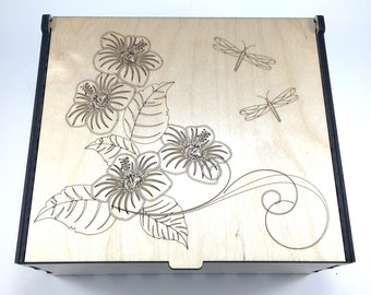 Essential Oil Box, 56 Slots, Flowers and Dragonflies, Aromatherapy Storage Box, Essential Oil Case, Oil Holder, Aromatherapy, Oil Organizer