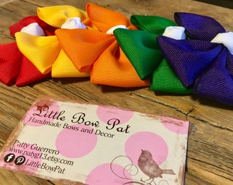Double BowTie Hair Bow Pack of 5 Assorted Colors