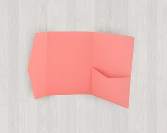 10 Mini Pocket Enclosures - Coral & Peach - DIY Invitations - Invitation Enclosures for Weddings and Other Events