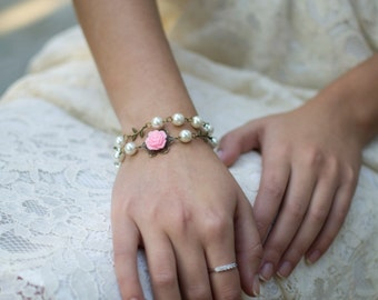 Bridesmaids Gift, Pearl Bracelet, Double Wrap Bracelet, Flower Girl Bracelet, Rose Flower Bracelet, Flower Girl Gift, Wedding Accessories