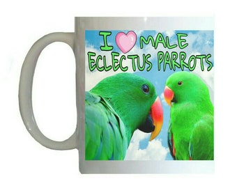 I Love Male Eclectus Parrots Green Parrot Blue Sky Clouds White 11oz Ceramic Coffee Mug