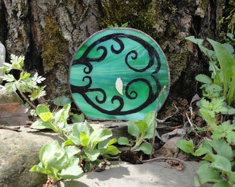 Fairy Door, Garden Sculpture, Green Stained Glass, Hand Painted, Miniature, Faerie Portal, Fae Door, Garden Art, Home Decor, Terrarium