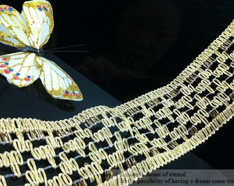 """5 yard 5cm 1.96"""" wide gold tapes braided lace trim ribbon pzo939 free ship"""