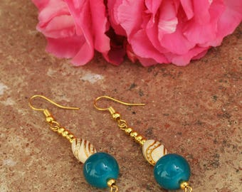Acrylic And Glass Beads With Gold Swirl, Gold Plated Hooks, Special Occasion Earrings, Handmade Jewellery by BloomIndependentShop. .