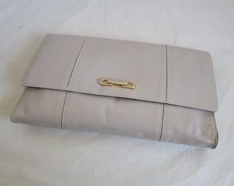 80s Vintage Clutch Bag Beige Faux Leather Clutch 1980s Purse
