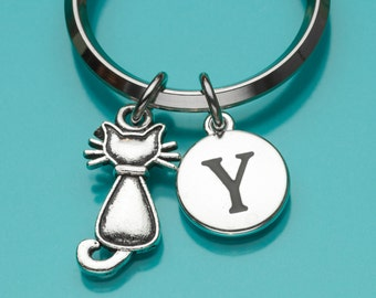 Cat Keychain, Cute Cat Key Ring, Initial Keychain, Personalized Keychain, Custom Keychain, Charm Keychain, 835