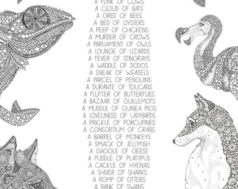 Animal Collectives Part 2 - Collective Nouns - Mandala Artwork - Nursery Print A3, A4