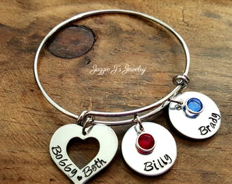 Family Bangle Bracelet, Family Name Bracelet, Personalized Family Bracelet, Hand Stamped Charm Bracelet, Gift for Mom, Mothers Day Gift
