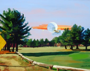 Maine Landscape Golf Course Collage Painting