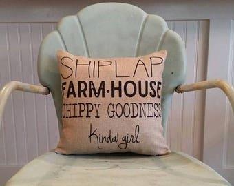 Farmhouse pillow, Shiplap, Chippy paint, Ship-lap pillow