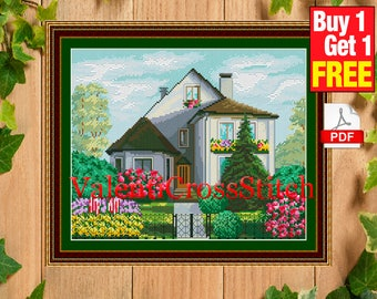 House Cross Stitch Pattern, village pattern, Сottage Cross Stitch Pattern, Counted Cross stitch, chart, #sp 34