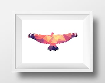 Eagle Print, Geometric Print, Geometric Wall Art, Eagle Art Print, Eagle Printable, Bright Triangle, Low poly art, Nursery Decor.