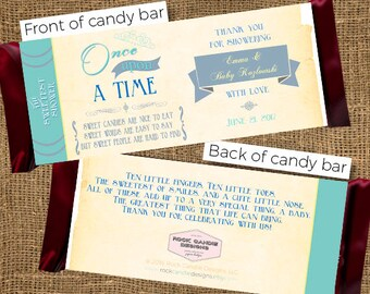 PRINTED Book Themed Baby Shower Party Hershey Candy Bar Wrapper / Once Upon a Time / Story Time / Literary, Storytime / Book Theme / Invites