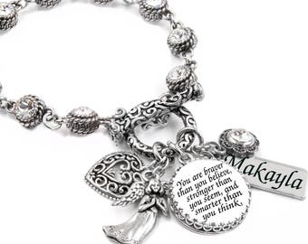 Silver Crystal Bracelet with Quote, Charms, and Engraved name in non tarnish, durable Stainless Steel
