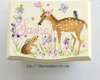 personalized musical jewelry box,humming bird,butterflies,deer,girls jewelry box,musical ballerina box,personalized gift,musical jewelry box