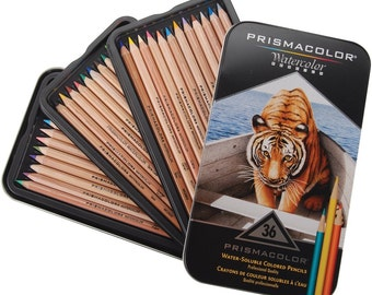 PRISMACOLOR  36 WATERCOLOR PENCILS - 36 PENCILs with Instructions in a Great Storage Tin !